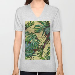 Tropical Palm Leaves on Wood Unisex V-Neck