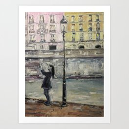 City Landscape selfie Print Original Oil Painting on Canvas Art Print