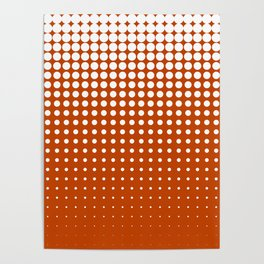Cool modern techno shrinking polka dots white on mahogany Poster