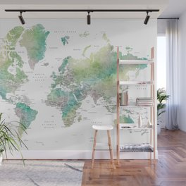 Watercolor world map in muted green and brown, with country capitals Wall Mural