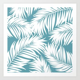 Palm Tree Fronds White on Soft Blue Hawaii Tropical Décor Art Print