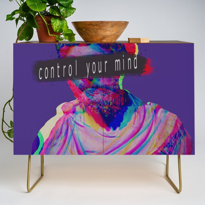 Control_your_mind_vaporwave_statue_Marcus_Aurelius_Credenza_by_Liev__Gold__Walnut