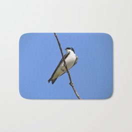 Handsome Male Tree Swallow on a Branch Bath Mat