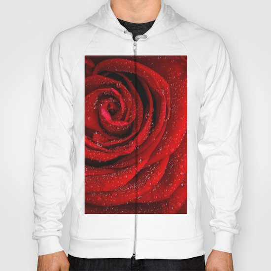 Red rose with sparkling droplets- Beautiful elegant Roses Hoody