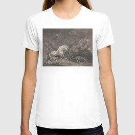 George Stubbs A Horse Affrighted by a Lion Black and White Vintage Ink Illustaration Fantasy Art T-shirt