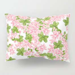 Modern hand painted pink watercolor flowers and green tropical leaf pattern Pillow Sham