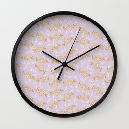 Gold & pearl watercolor flowers on lilac seamless pattern_2 Wall Clock