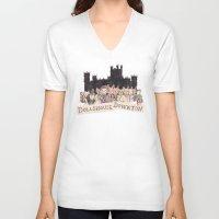 downton abbey V-neck T-shirts featuring Downton Abbey - Dollshouse Downton by Grace Venning