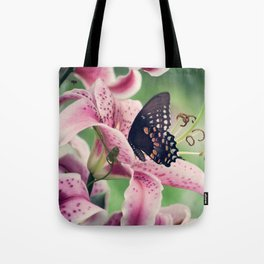Butterfly & Lily Pink Photograph I Tote Bag