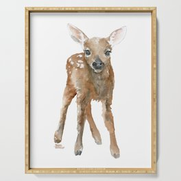 Deer Fawn 3 Watercolor Serving Tray