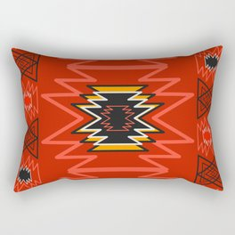 Ethnic lines in red Rectangular Pillow