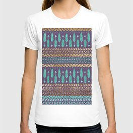 Gold Teal and Purple Arrows Tribal Aztec Pattern T-shirt