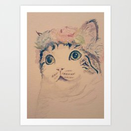 Cat Flower Crown Art Print