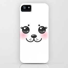 Kawaii funny albino animal white muzzle with pink cheeks and big black eyes iPhone Case