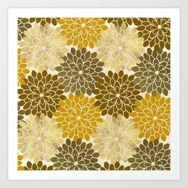 Golden Petals Pattern Art Print