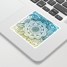 Mandala Blue Yellow Sticker