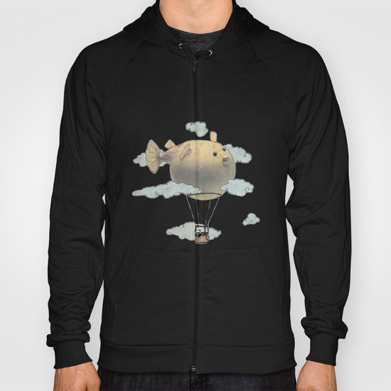 Panda fliying in a Blow fish. Hoody