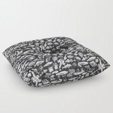 Aquatic I: White on Black Floor Pillow