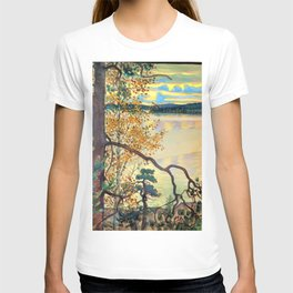 12,000pixel-500dpi - Akseli Gallen-Kallela - A lake view with stamp and inscription T-shirt