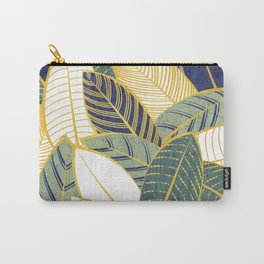 Leaf wall // navy blue pine and sage green leaves golden lines Carry-All Pouch