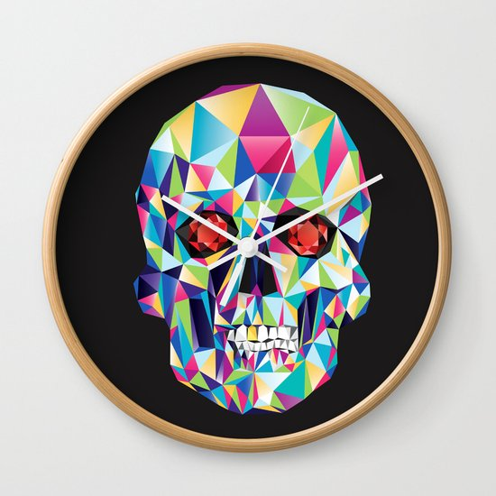 Geometric Candy Skull Wall Clock