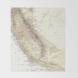 Vintage Map of California (1878)  Throw Blanket