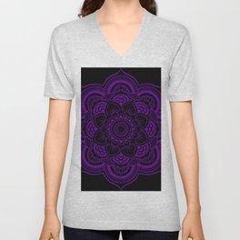 Deep Purple Mandala Unisex V-Neck