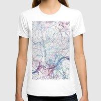 cincinnati T-shirts featuring Cincinnati map by MapMapMaps.Watercolors
