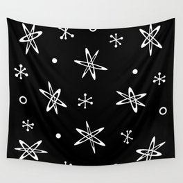 Atomic Era Space Age Black Wall Tapestry