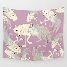 Arctic Wolf  lilac totem Wall Tapestry