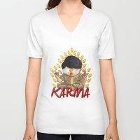 karma V-neck T-shirts featuring Karma by Seez