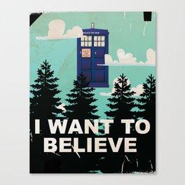 I want to Believe retro telephone box Canvas Print