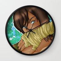 korra Wall Clocks featuring Korra - Spitfire by BlackPhoenixFeathers