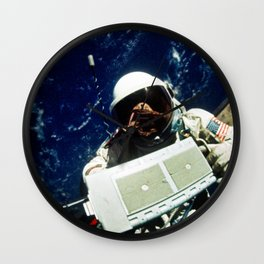 Astronaut Edwin E Aldrin Jr pilot for the Gemini-12 spaceflight removes micrometeoroid package for r Wall Clock