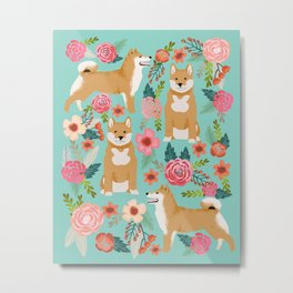 Shiba inu mint florals cute flowers dog breed must have gifts for pet dog lover unique dog breed art Metal Print