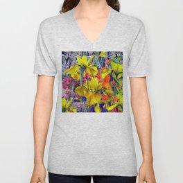Yellow Iris Abstract Unisex V-Neck