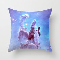 thanos Throw Pillows featuring nEBulA Pastel Blue & Lavender by 2sweet4words Designs
