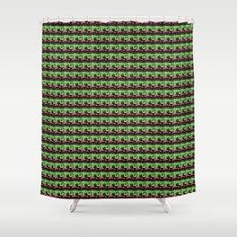 Night Cat - limegreen Shower Curtain