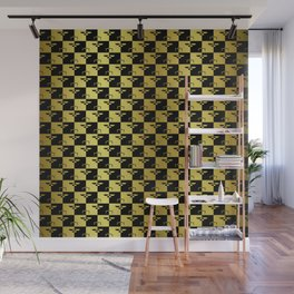Black and Gold Checkerboard Scales of Justice Legal Pattern Wall Mural