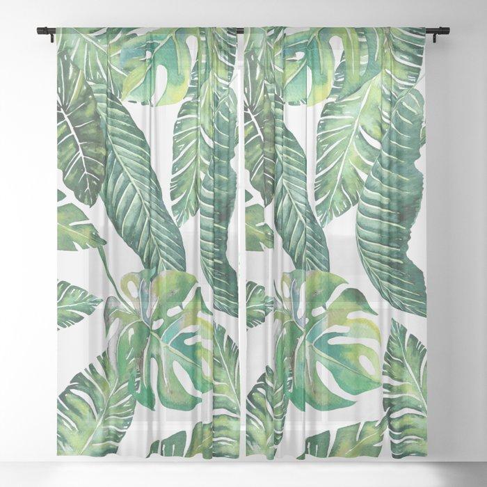 Jungle Leaves, Banana, Monstera #society6 Sheer Curtain