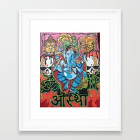 hindu Framed Art Prints featuring Hindu God by Vic Piano
