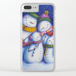 Snow Family Portrait Clear iPhone Case