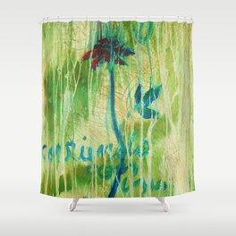 Azul Corriendo con una Memoria Shower Curtain