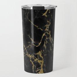 Black faux arbre guilde gold accent Travel Mug