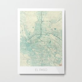 El Paso Map Blue Vintage Metal Print