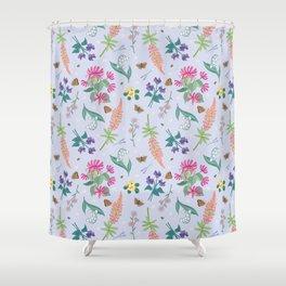 Violets Honeysuckle & Lavender Pattern Shower Curtain
