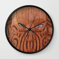 tiki Wall Clocks featuring Tiki Tiki by leyna.seaton