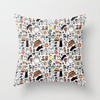 theater Throw Pillows featuring Kawaii Ghibli Doodle by KiraKiraDoodles