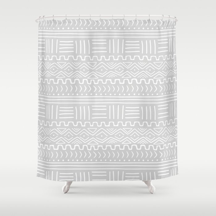 Mud Cloth On Light Gray Shower Curtain By Wellingtonboot
