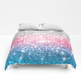 Galaxy Sparkle Stars Cotton Candy Comforters